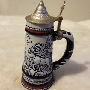 Vtg Avon Collectible handcrafted Lidded Bear Stein